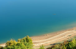 Lake beach. Beautifull beach at Zavojsko Jezero on Old Mountain in Serbia stock photo