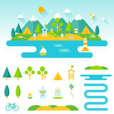 Lake, beach, woods and mountains summer landscape. Set of outdoor, camping and recreation elements to create custom designs. Summer landscape. Set of outdoor Royalty Free Stock Images