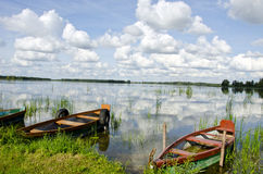 Lake beautiful landscape with boats Stock Photos