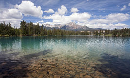 Lake Beauvert. With Pyramid Mountain in the background.  Located in Jasper National Park, Alberta, Canada Stock Photos
