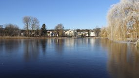 Blue lake and Frosty in winter. Lake became ice. Cold winter  frosty in sunny day on Usedom Island. Germany Royalty Free Stock Photography