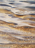 Lake bed watercolor. Sea view background. Blue sea or ocean transparent shallow water over pebble bottom of stony beach coast. Wave is incident on the beach Stock Images
