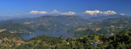 Lake Begnas Tal and Annapurna range Stock Image