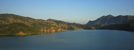 Lake Begnas Tal and green hills Stock Photo