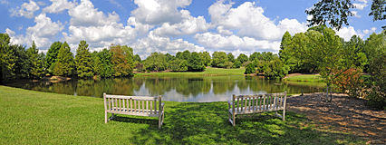 Lake and Bench Panorama Stock Photography