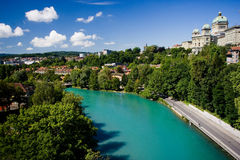 Lake in Bern, Switzerland. Bern is quite suitable for many excursions, especially to the lakes and peaks of the Bernese Oberland, a vast recreational area only Stock Image