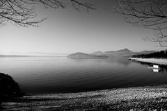 Lake in black and white. Liptovska Mara, Slovakia Stock Image
