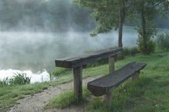 Lake blagus. Bench for resting at Lake Blagus stock photos