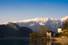 Lake Bled. In Slovenia with Kamnik Alps in the background Stock Photography