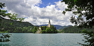 Lake Bled. View of the Church on Lake Bled Island, Slovenia Stock Photo