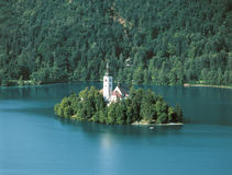 Lake Bled. Little island on lake, Bled, Slovenia Royalty Free Stock Photography