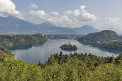 Lake Bled above view in Slovenia Stock Images