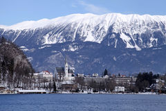 Lake Bled, Alps, Slovenia. Winter landscape with Alps, St. Martin's Parish Church and lake Bled, Slovenia Stock Photo