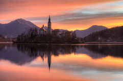 Lake Bled in autumn - Church Assumption of the Virgin Mary Royalty Free Stock Photos