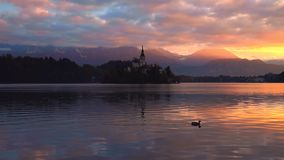 Lake Bled by autumn, Slovenia with St. Marys Church of the Assumption on the small island in the water and beautiful sunset stock video footage