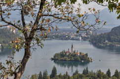 Lake Bled autumn view in Slovenia Royalty Free Stock Photo