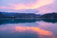 Lake bled. With a beautiful island in the middle of the lake at sunset Royalty Free Stock Images