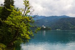 Lake bled. With a beautiful island in the middle of the lake in Slovenia Royalty Free Stock Image