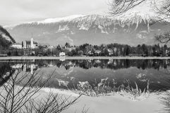 Lake Bled. Black and white Stock Photography
