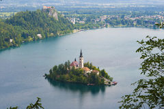 Lake Bled and Bled Island (Blejski Otok). Lake Bled as seen from Little Osojnica Hill Royalty Free Stock Photos