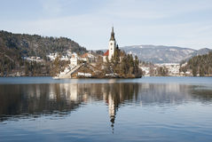 Lake Bled with castle behind, Bled, Slovenia Stock Images
