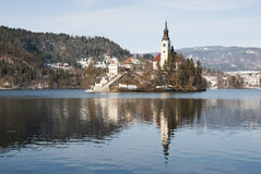 Lake Bled with castle behind, Bled, Slovenia Stock Photography