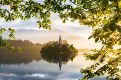 Lake Bled. Castle on the island - romantic place in Slovenia, Europe. royalty free stock photo