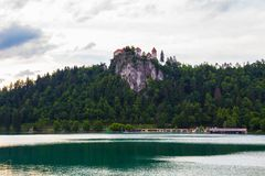 Lake bled. With the castle beside in Slovenia Stock Image