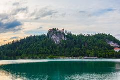 Lake bled. With the castle beside in Slovenia Royalty Free Stock Photography