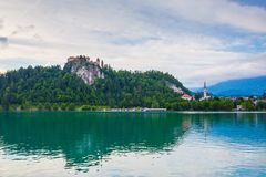 Lake bled. With the castle beside in Slovenia Stock Images