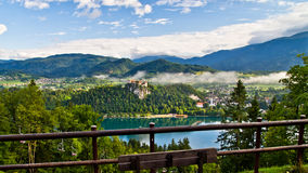 Lake Bled, castle and the surrounding mountains Stock Image