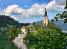 Lake Bled church Royalty Free Stock Photography