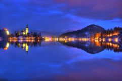 Lake Bled, The Church of the Assumption of the Virgin Mary, Bled Island, Slovenia - night picture Stock Photography