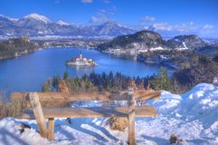 Lake Bled, The Church of the Assumption of the Virgin Mary, Bled Island, Slovenia - view above the island Stock Photo