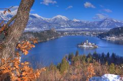 Lake Bled, The Church of the Assumption of the Virgin Mary, Bled Island, Slovenia - view above the island Stock Photography