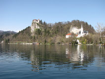 Lake Bled. With the environment on the sunset Stock Photography