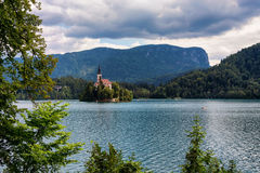 Lake Bled and the famous island Royalty Free Stock Images