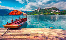 Lake Bled is a glacial lake in the Julian Alps Stock Photos