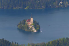 Lake Bled Island. Seen from a nearby mountain during summertime Stock Image