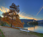 Lake Bled, Island Bled and church Assumption of the Virgin Mary , Slovenia - autumn view Stock Photos