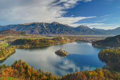 Lake Bled, Island Bled and church Assumption of the Virgin Mary , Slovenia - autumn view from peak Mala Osojnica Royalty Free Stock Photo