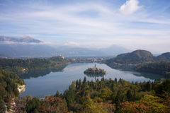 Lake Bled with Island and Castle. A view at the lake Bled with island and Castle in the background. In the distance, you can see the mountain Stol Stock Image