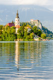 Lake Bled, island and Castle Stock Photography