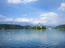 Lake Bled with island and castle, Slovenia Stock Image