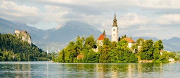 Lake Bled, island and Castle, Slovenia Royalty Free Stock Images