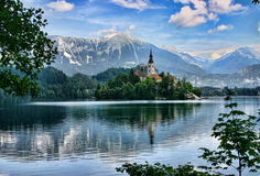 Lake Bled island with a church Royalty Free Stock Image