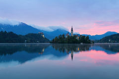 Lake Bled and the island with the church at autumn color at sunr Royalty Free Stock Photos
