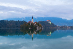 Lake Bled and the island with the church at autumn color at suns. Et in Slovenia Royalty Free Stock Images