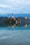 Lake Bled and the island with the church at autumn color at suns. Et in Slovenia Royalty Free Stock Image