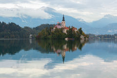 Lake Bled and the island with the church at autumn color at suns. Et in Slovenia Royalty Free Stock Photography